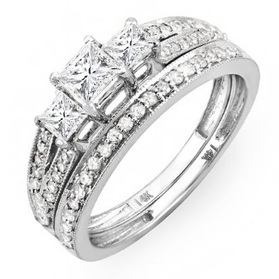 1.00 Carat (ctw) 14k White Gold Brilliant Princess