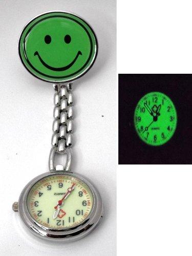 Nurses Luminous Green Smiley Fob Pocket Watch. Gift Boxed. Clip Fastening