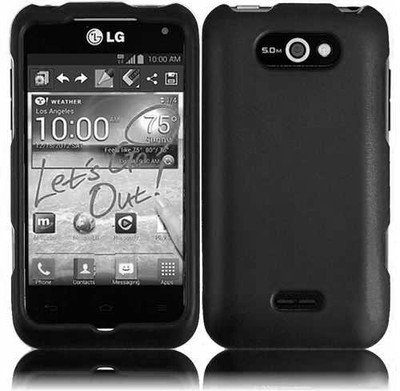 41HmUSY2znL For LG Motion 4G/MS770 Hard RUBBERIZED Case Black