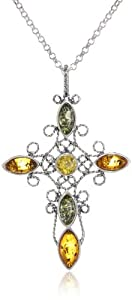 Sterling Silver Multicolor Amber Large Filigree Cross Pendant Necklace , 18""