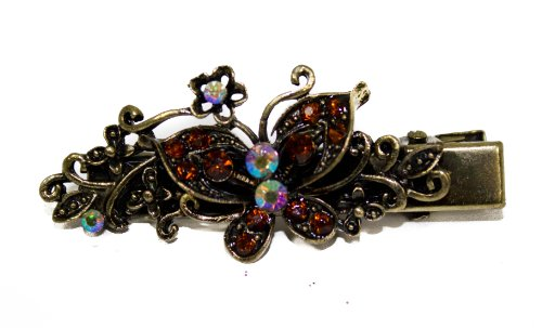 Vintage Glitter Copper Brown Crystal Butterfly On 5cm Gold Beak Clip