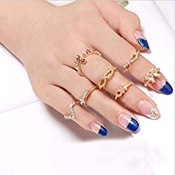 New Skull Bowknot Heart Nail Knuckle Band Finger Tip Stacking Rings By ITS