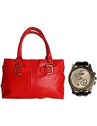 Arc HnH Women HandBag + Watch Combo - Buckle Red Handbag + Premium Silver Heart Watch