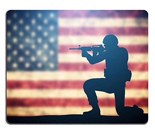 Luxlady Mousepads Soldier shooting on grunge USA flag American army military concept IMAGE 37915732 Customized Art Desktop Laptop Gaming mouse Pad