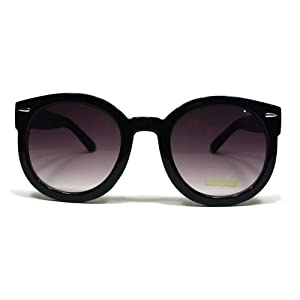 Fashion Vintage Round Thick Horn Style Sunglasses: Black