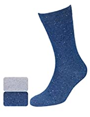 2 Pairs of North Coast Cotton Rich Flecked Socks
