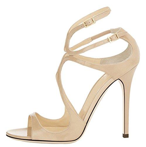 yBeauty Women's Heel Sandals Cross Ankle Strap Sandals Peep Toe Pumps High Heel Buckle Sandals for Dress Patent Leather Nude US8