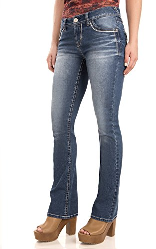WallFlower Juniors Washed Classic Legendary Bootcut Jeans in Keller Size:1 (Junior Jeans Size 1 compare prices)