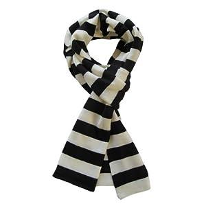 Soft Knit Striped Scarf - Black & White