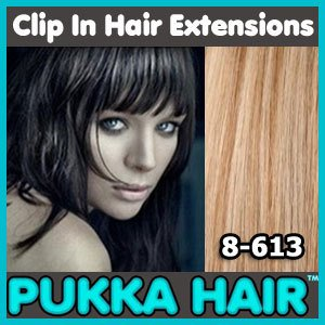 18 Inch (Light Brown / Blonde #8/613) Clip In Remy Human Hair Extensions - 8 Piece Set - Full Head - Clips Attached - 100g Weight - Get the Celebrity Lush Look!!