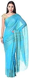 Mahek Women's Silk Saree with Blouse Piece (Sky Blue)