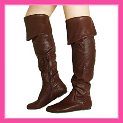 Women Qupid Brown Leatherette Thigh High Slouch Boots (Proud09)