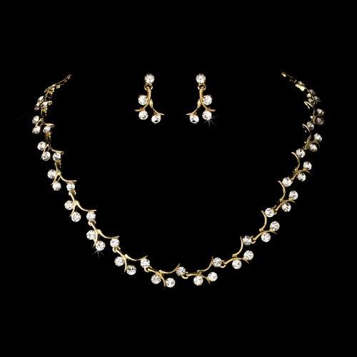 Gold Clear Crystal Rhinestone Bridal Wedding Necklace Earring Set
