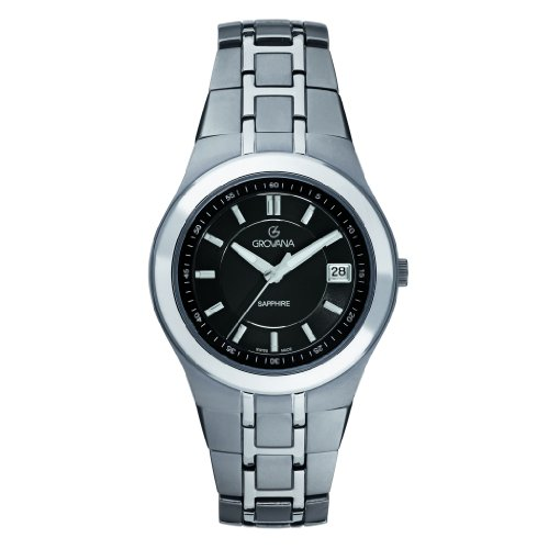Grovana 1535,1197 - Reloj analógico de cuarzo para hombre, correa de titanio color gris