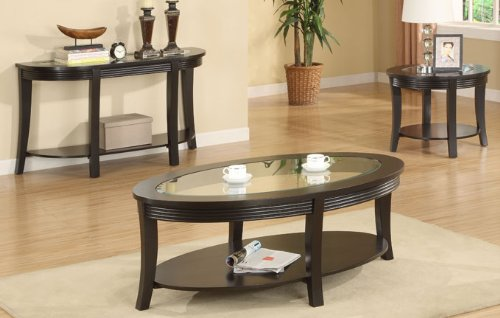 Cheap Beautiful Wooden End Table with Glass Top in Espresso Finish #PD F61145 (f6145)