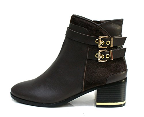 Gaudi Tronchetto Donna Dominic Zip Tacco Cm 5 Calf Pony Leather Ebony_38