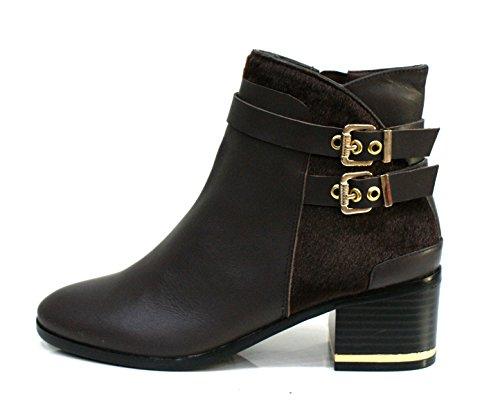 Gaudi Tronchetto Donna Dominic Zip Tacco Cm 5 Calf Pony Leather Ebony_40
