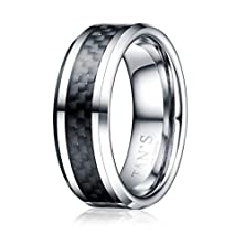 buy Tan'S 8Mm Men'S Tungsten Ring Wedding Band In Comfort Fit Black Carbon Fiber Inlay/Beveled Polished Edge