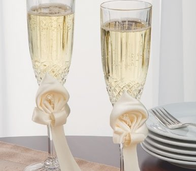 Ivy Lane Design Calla Lily Wedding Collection, Crystal Toasting Flutes, White