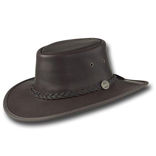 Barmah Hats Squashy Fullgrain Leather Hat 1026Br / 1026Bl - Dark Brown - Large