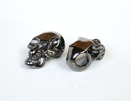5 Metal Black Skull Beads For 550 Paracord Bracelets, Lanyards, & Other Projects (Horizontal Holes)