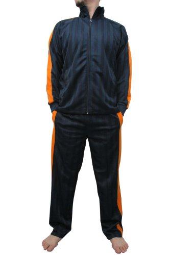 (スコーン) SKKONE ジャージ 上下 セット メンズ ストライプ 4色 L オレンジ