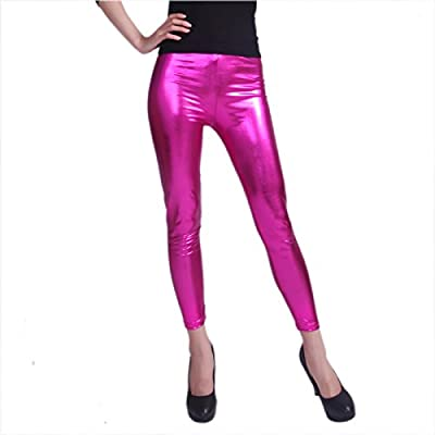 HDE Women's Metallic Liquid Footless Tight Shiny Wet Look Leggings (Plus Sizes)