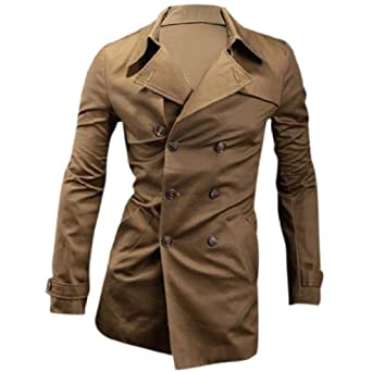 Buy Men Convertible Collar Double Breasted Long Sleeve Pockets Trench Coat by Allegra+K