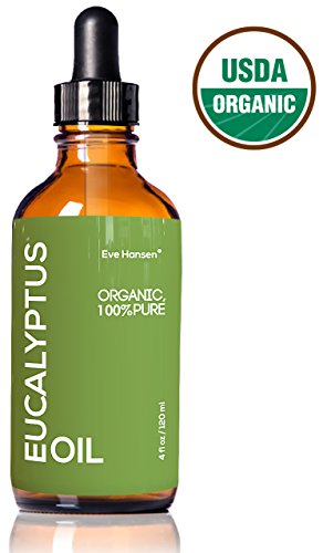 4oz USDA Organic Eucalyptus Oil by Eve Hansen - 100% Pure & Certified - With Glass Dropper - SEE RESULTS OR MONEY-BACK - Great natural remedy to combat respiratory problems and treat wounds & burns. (Eucalyptus Oil For Steam Room compare prices)