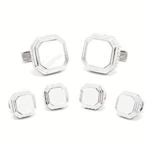 Sterling Silver Mother of Pearl Opus Cufflinks and Tuxedo Studs Set