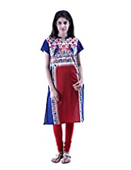Aarr Short Sleeves Cotton Printed Floral Kurta For Women - B00ZXRVG3K