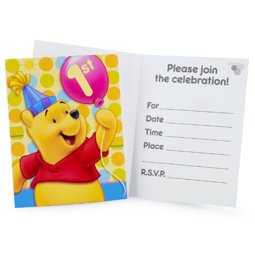 Pooh's 1st Birthday Invitations 8ct
