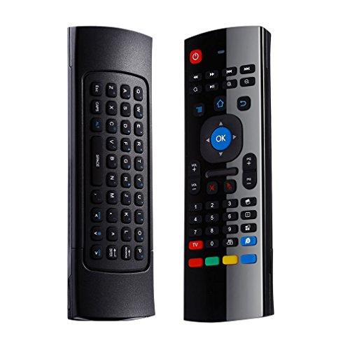 LESHP Mando Inalámbrico Teclado 2 en 1 (2.4GHz, Teclado QWERTY, Recptor USB, para Android TV PC), Ratón Aéreo