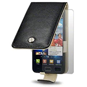 SAMSUNG i9100 GALAXY S II BLACK GENUINE LEATHER FLIP CASE / COVER / POUCH / HOLSTER + SCREEN PROTECTOR BY TERRAPIN