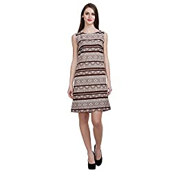 MansiCollections Women's A-line Brown, White Dress (Large)