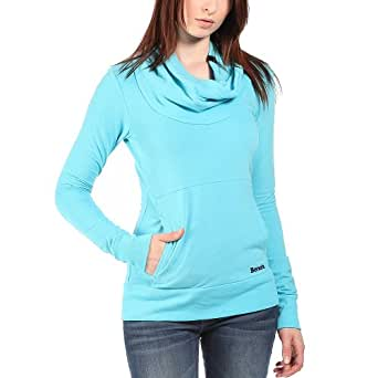 Bench Inclu - Sweat-shirt - Uni - Col châle - Manches longues - Femme - Turquoise (River Blue) - FR: 38 (Taille fabricant: S)