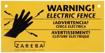 Woodstream Ws3 Electric Fence Warning Signs, Yellow & Black Plastic, 4 X 8-In., 3-Pk. - Quantity 10
