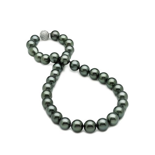 Bling Jewelry 10mm South Sea Shell Peacock Black Pearl Bridal Necklace