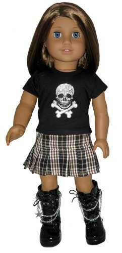 Black Boots, Skull Tee, and Plaid Skirt. Doll Clothes for 18