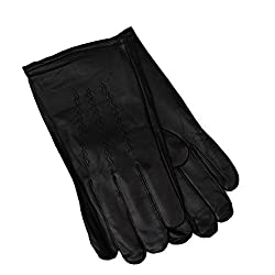 Gates Men's Luxurious Cashmere Lined Black Genuine Butter Soft Leather Gloves (Large)