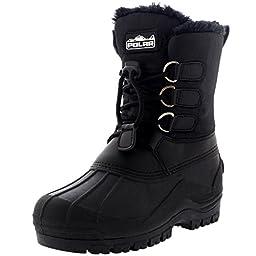 Unisex Kids Pull On Drawstring Closure Nylon Muck Duck Snow Rain Fur Boots - 12 - BLK30 YC0162