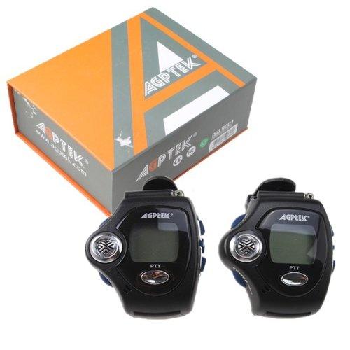 (2-Pcs) Agptek® Two-Way Multi-Channels Wrist-Operated Wristwatch Walkie Talkie Wrist Watch--Auto Channel Scan--Lcd Display--Auto Squelch