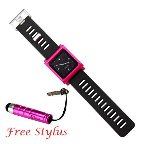 Pink Cool Aluminum Bracelet Watch Band Wrist Band For Ipod Nano 6 Cover Case