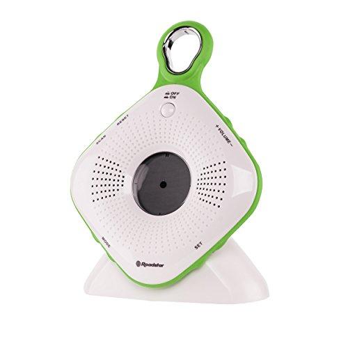 SRA-2110 UKW Duschradio mit Uhr (Sendersuche, großer Saugnapf, spritzwassergeschützt IPX-4 Norm, Weckfunktion)