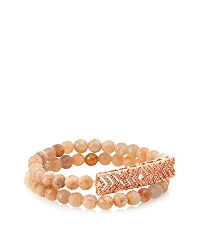 Elise M Gatsby-Sunstone Semi Precious Beaded Bracelet with Pave Charm