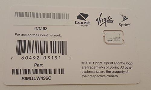Sprint UICC ICC Nano SIM Card SIMGLW436C - iPhone 5c, 5s, 6, 6 Plus, iPad Air, iPad Air 2 (Virgin Mobile Nano Sim Card compare prices)