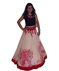 Isha Enterprise Net Lehenga Choli(BHV-3321_White)