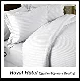 Royal Hotel's Striped White 300-Thread-Count 3pc King Duvet-Cover 100-Percent Egyptian Cotton, Sateen Striped, 100% Cotton