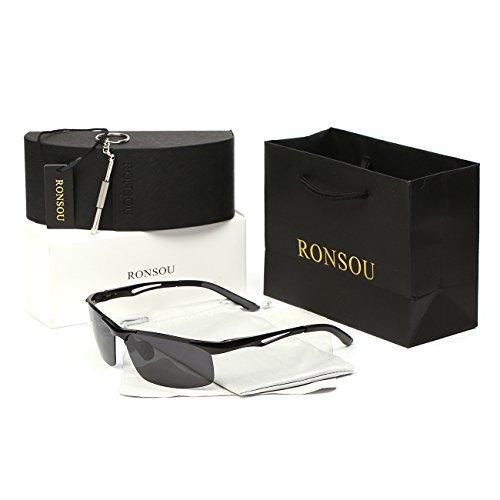 afbaed2fce Ronsou Men Sport Aluminum Magnesium Polarized Sunglasses Alloy Mirror  eyewear black frame gray lens