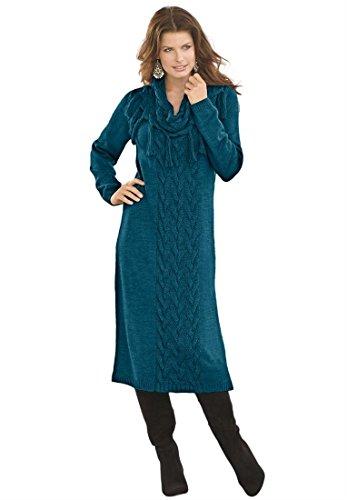 Denim 24/7 Women'S Plus Size Cowl Neck Sweater Dress (Royal Teal,1X)
